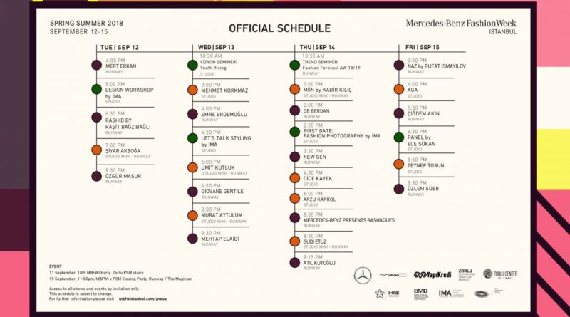 Mercedes-Benz Fashion Week Istanbul Spring Summer 2018 Official Schedule