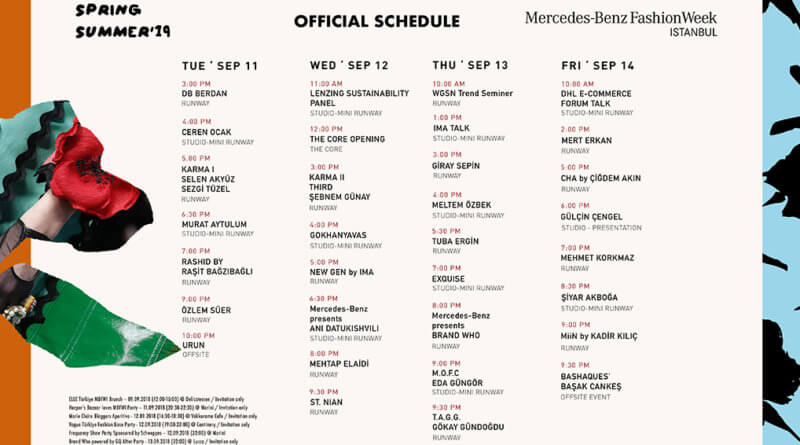 Mercedes-Benz Fashion Week Istanbul Spring Summer 2019 Official Schedule